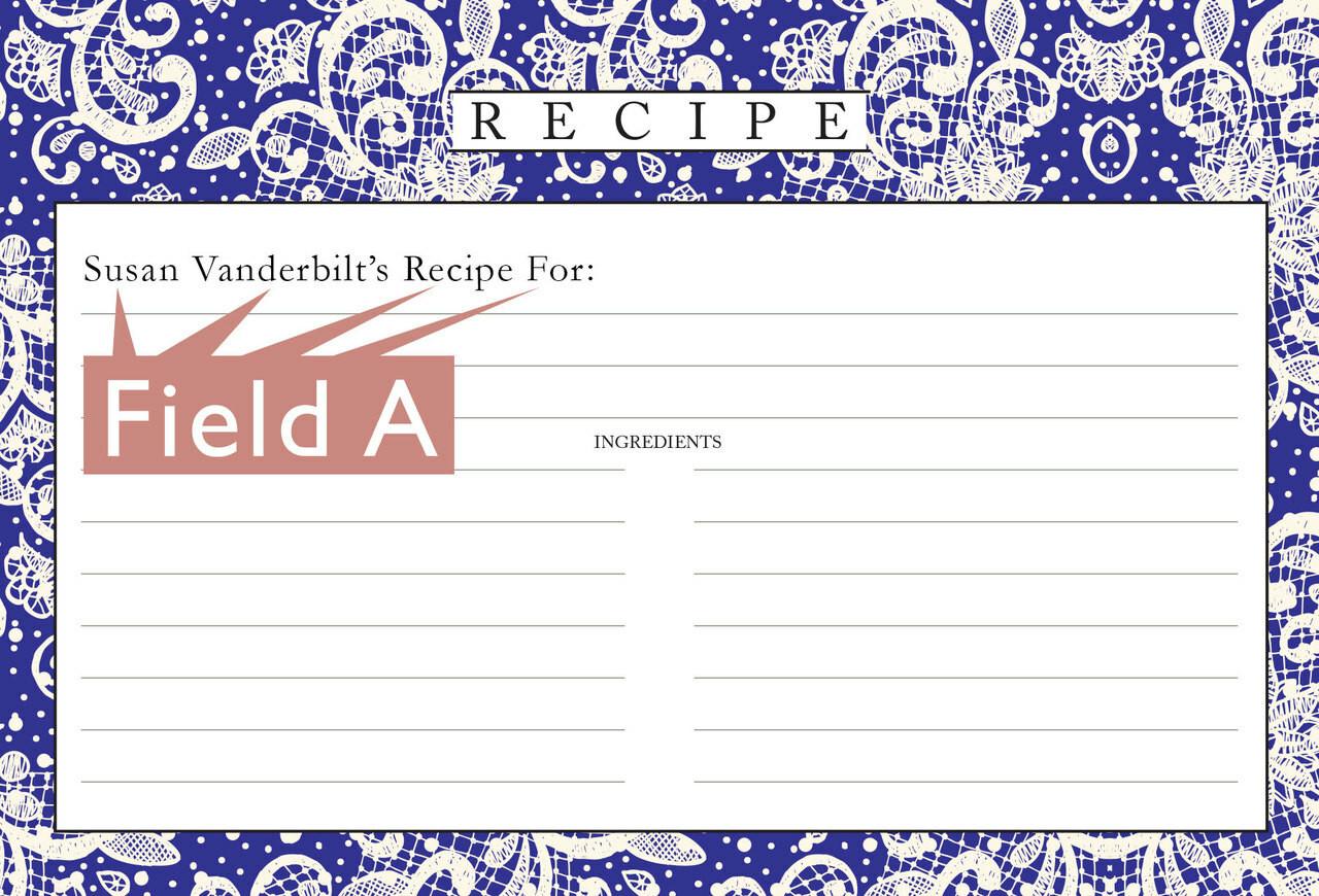 Customized Recipe Card 4x6 Lace Settings Midnight Blue 40ea