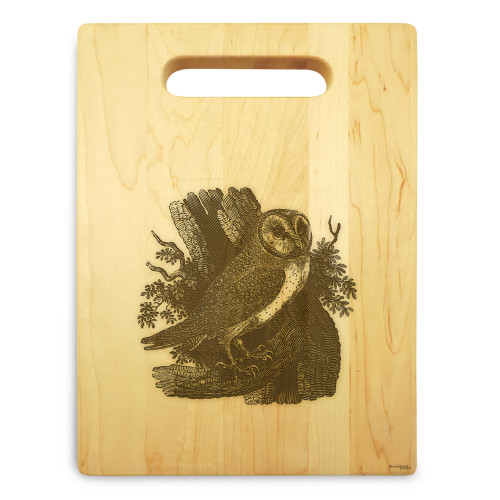 Owl 9x12 Small Engraved Cutting Board Handle Maple Wood