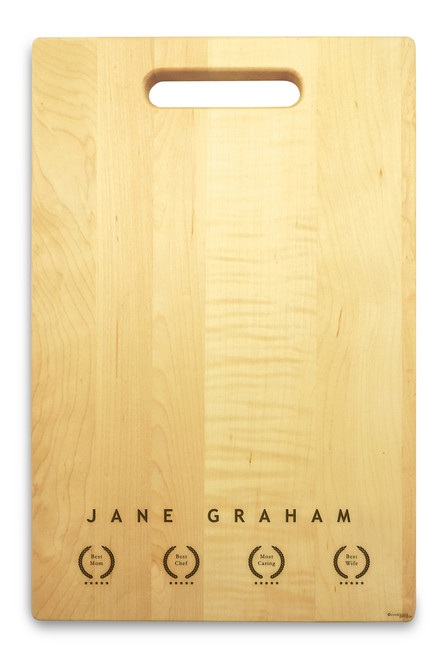 Recognition 10x16 Hand Hole Maple Cutting Board