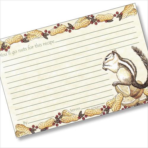 4x6 Chipmunk Dreaming Recipe Card
