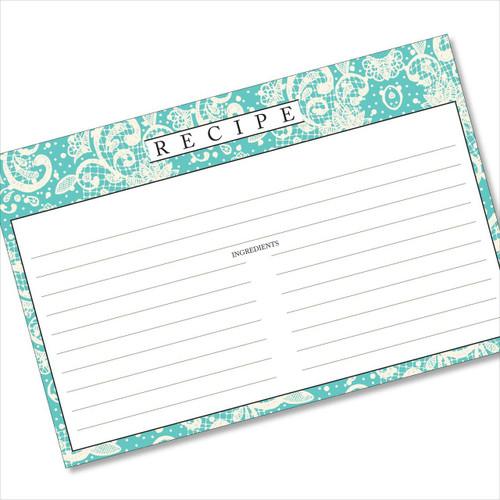 4x6 Recipe Card Lace Settings Turquoise 40ea