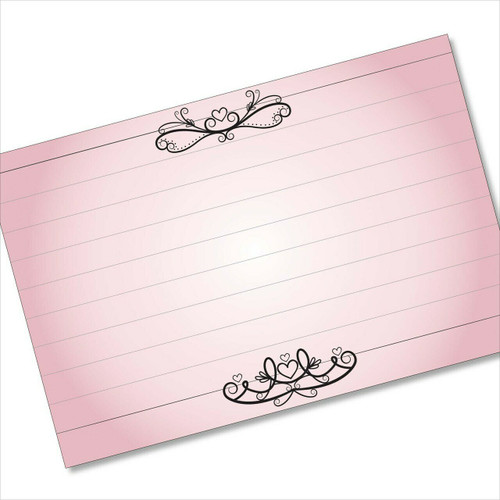 4x6 Recipe Card Hearts and Lines Pink Note Card or  40ea