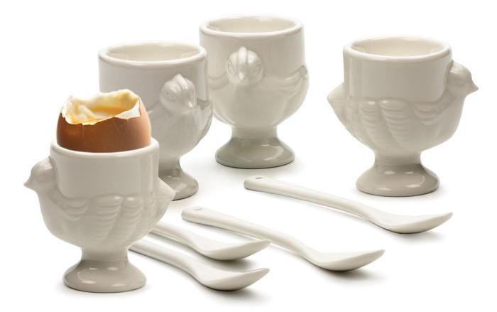 Porcelain 'Hen' Egg Cups plus Spoons