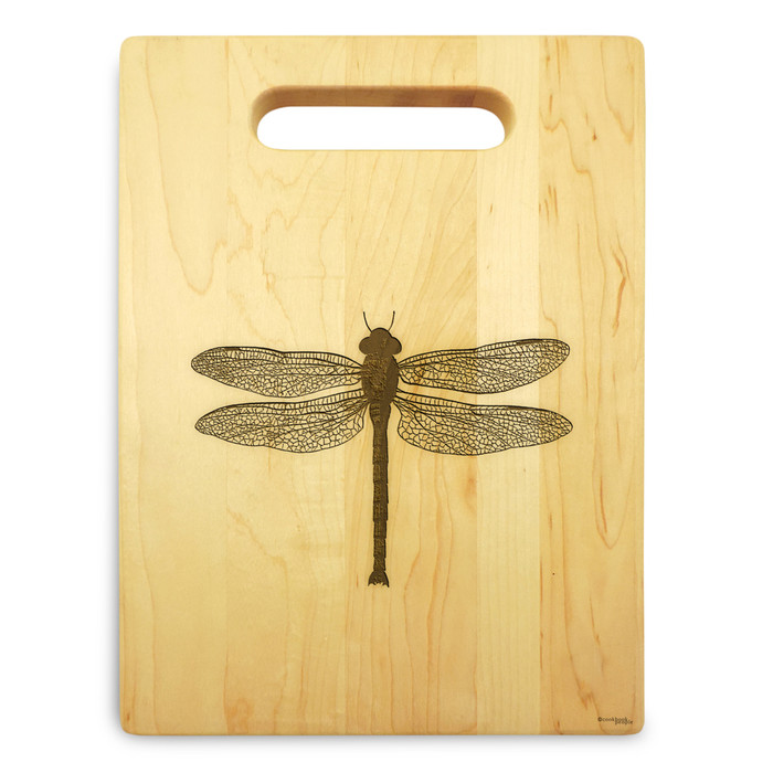 Dragonfly 9x12 Engraved Chopping Board Handle Maple Wood