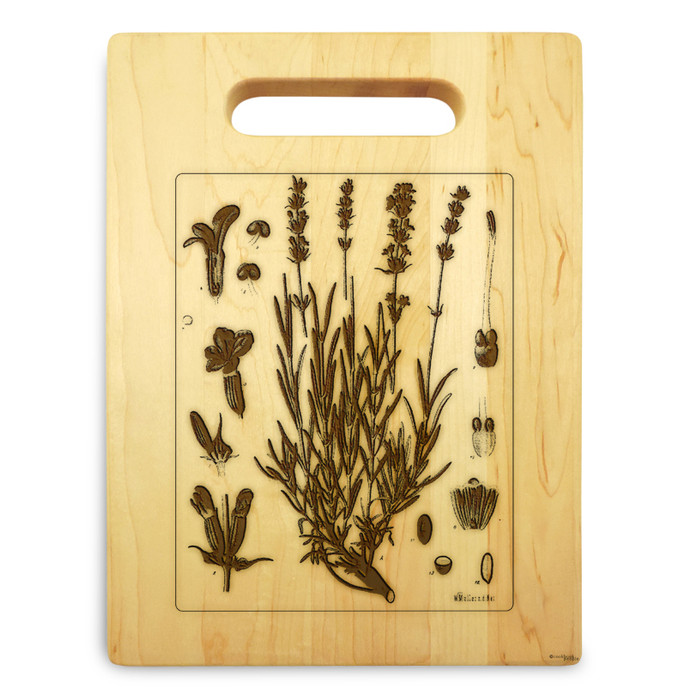 Lavender Herb 9x12 Small Engravedl Cutting Board Handle Maple Wood