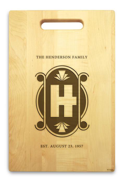 Art Deco 10x16 Handle Engraved Cutting Board