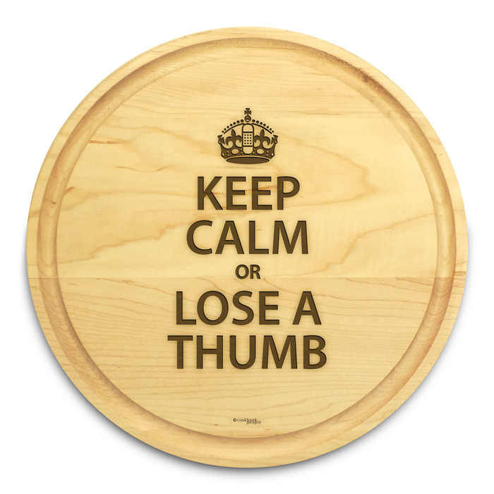 Keep Calm 10in Round Maple Cutting Board with Juice Groove