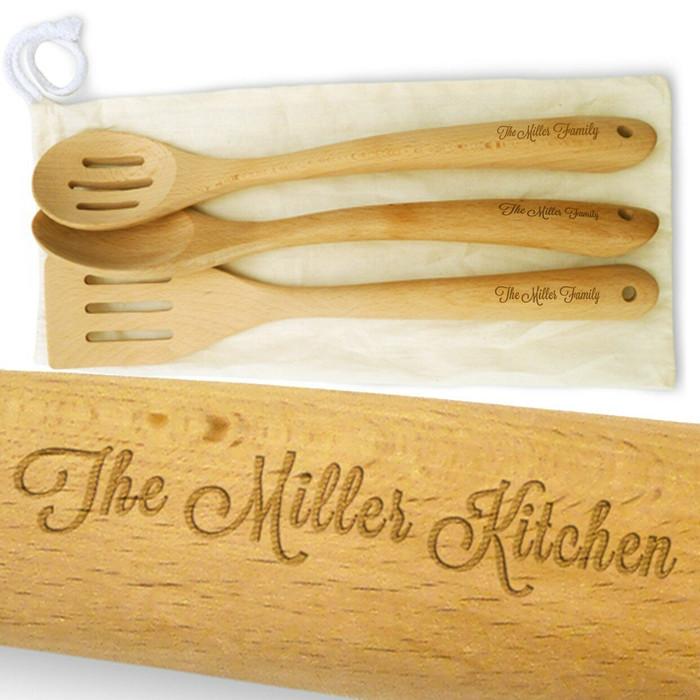 "Personalized Spatula & Spoon Set - Beech Wood 14"" Long"