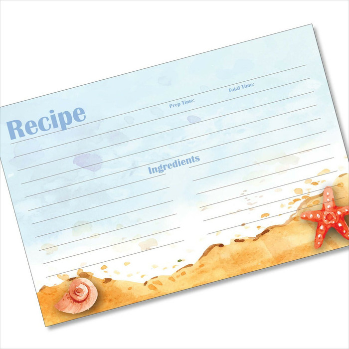 4x6 Recipe Card Seaside Starfish Beach Light Blue 40ea
