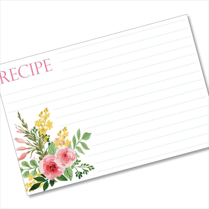 4x6 Recipe Card Two Pink Watercolor Roses 40ea