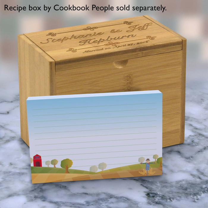blue 4x6 recipe cards  scarecrow barn notecard or thank you card or order online