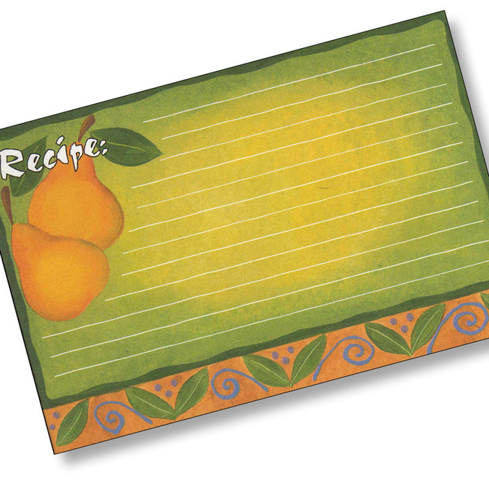 4x6  Designer Recipe Cards with Covers - Fancy Pear
