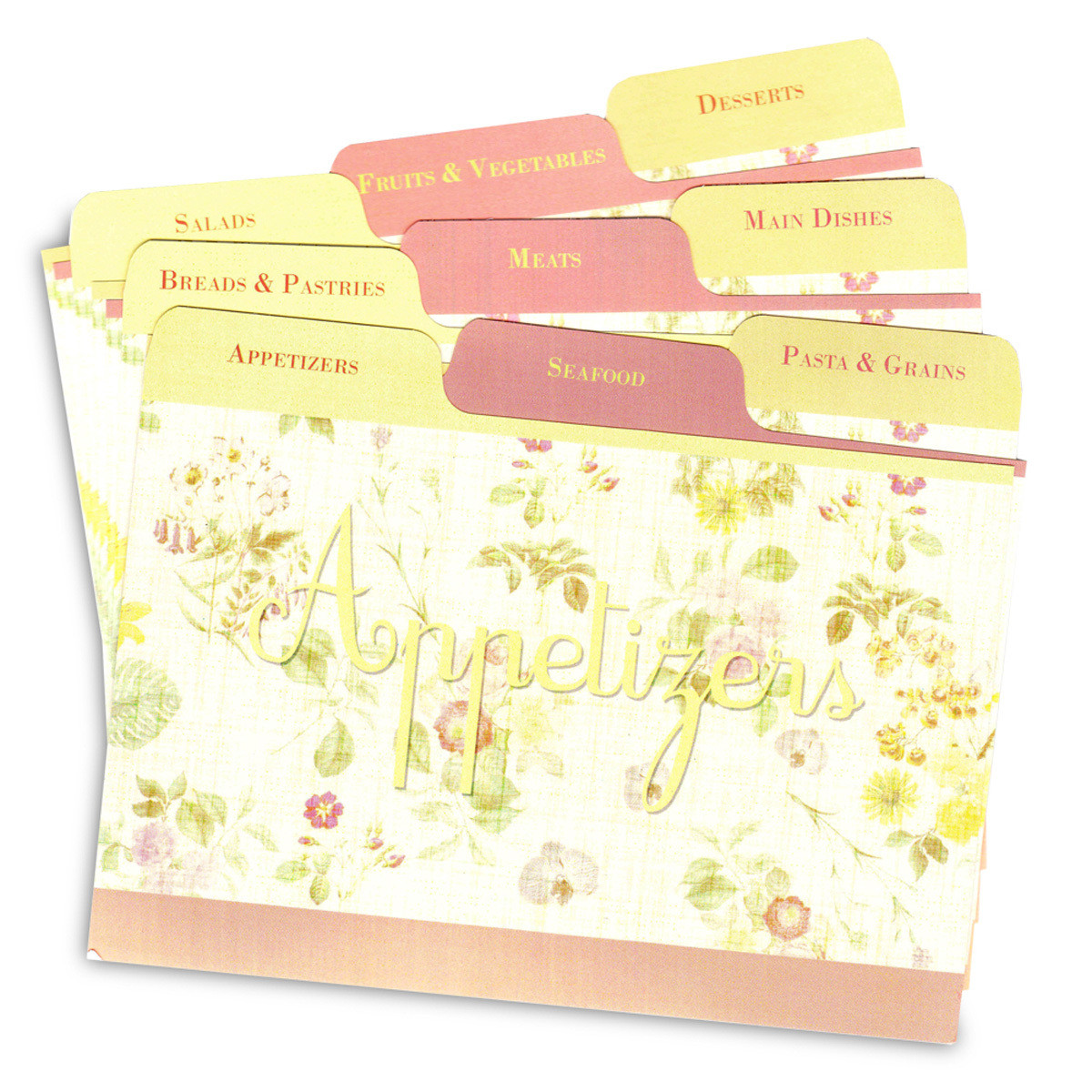 cookbook people 4x6 lemon linen tabbed recipe card dividers