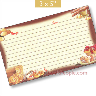 Personal 3 x 5 Recipe Cards;Earth Friendly; Made in USA Bread