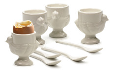 Porcelain 'Hen' Egg Cups plus Spoons