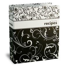 Half Page Recipe Card Binder - Black & White Swirl Binder