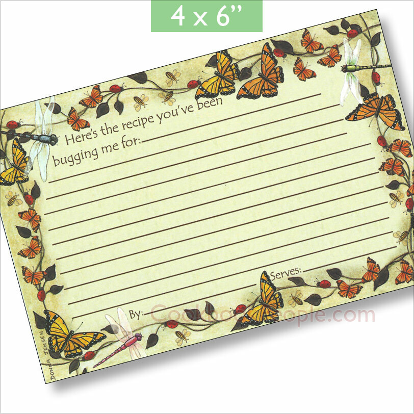 beautiful 4x6 recipe card earth friendly made in usa butterfly summer 4x6. Black Bedroom Furniture Sets. Home Design Ideas