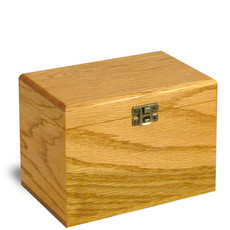 4x6 Oak Wood Recipe Card Box - Made In USA - master