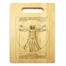 Vitruvian Man 9x12 Engraved Chopping Board Handle Maple Wood