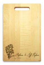 Rose Ribbon 10x16 Handle Monogram Cutting Board