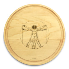Vitruvian Man 10in Round Engraved Cutting Board with Grooving
