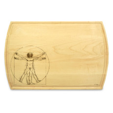 Vitruvian Man 10x16 Grooved Custom Cutting Board