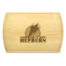 Wheat Grain 10x16 Grooved Monogram Cutting Board