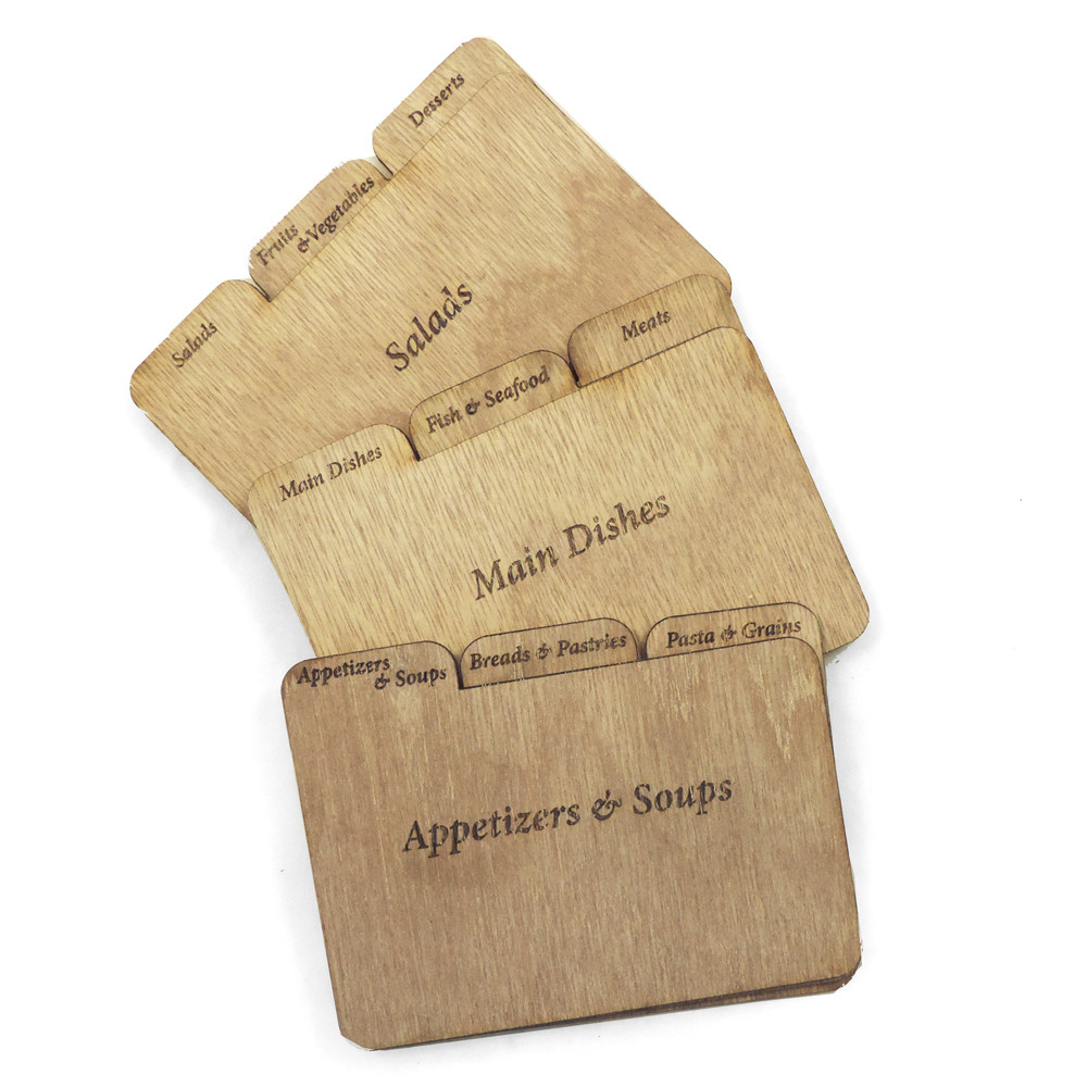 Wood Recipe Card Dividers