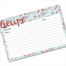 4x6 Recipe Card Flowerama Mama Baby Blue  40ea