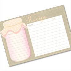 4x6 Recipe Card Pink and Tan Mason Jar 40ea