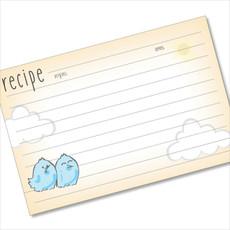 4x6 Recipe Card Happy Birds Orange and Blue 40ea