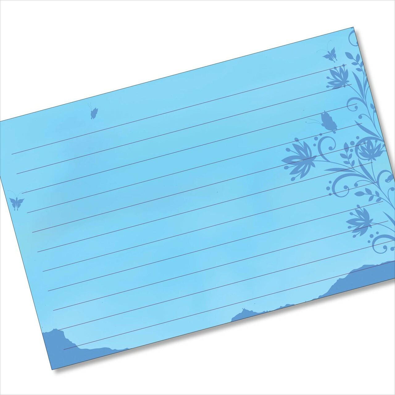 buy 4x6 recipe card online blue butterflies silhouette
