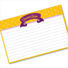 4x6 Recipe Card Purple Ribbon Yellow Polka Dot 40ea