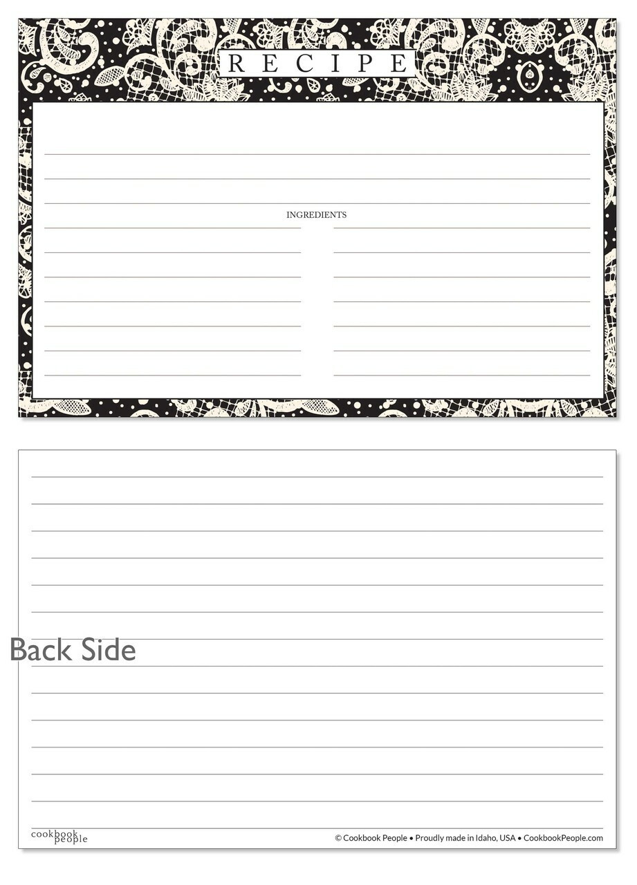 recipe cards set lace settings ebony black 4x6 index cards