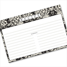 4x6 Recipe Card Lace Settings Ebony Black 40ea