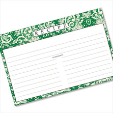 4x6 Recipe Card Lace Settings Forest Green 40ea