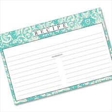 4x6 Recipe Card Lace Settings Turquoise 40ea
