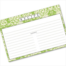 4x6 Recipe Card Lace Settings Avocado Green 40ea