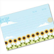 4x6 Recipe Card Sunflower Row Blue 40ea