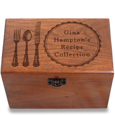 Fork and Spoon Personalized Cherry 4x6 Recipe Card Box