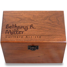 Signature Personalized Cherry 4x6 Recipe Card Box