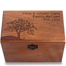 Tree Swing Personalized Cherry 4x6 Recipe Card Box