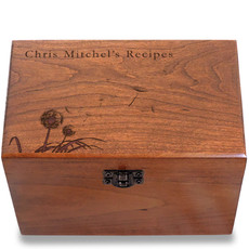 Dandelion Personalized Cherry 4x6 Recipe Card Box
