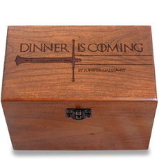 Dinner is Coming Personalized Cherry 4x6 Recipe Card Box