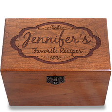 Moderna Personalized Cherry 4x6 Recipe Card Box