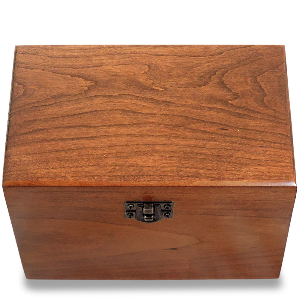 4x6 Cherry Wood Recipe Card Box Made In Usa