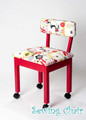 Arrow 3000 Red Alexander Henry Fabric Covered Sewing Machine Chair