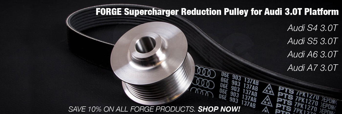 Forge Supercharger Reduction Pulley for Audi 3.0T S4 S5 A6 A7