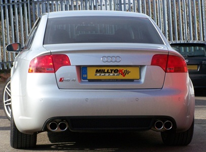 S4 B7 - Milltek Resonated (Quieter) Cat-Back Exhaust System w/ 76.2 Audi B A White on white audi rs3, white audi r8, white audi a3, white audi white rims, white audi q5, white audi a8, white audi s3, white audi tts coupe, white audi v8, white audi s6, white audi a5, white audi rs4, white audi q7, white audi tt, white audi a6,