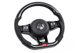 APR Carbon Fiber & Perforated Leather Steering Wheel - Silver for MK7 Golf R/GTI/GLI (For use without Paddles) (MS100206)